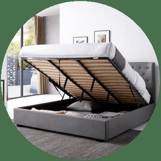 Kensington 4'6 grey Ottoman fabric bed Icon