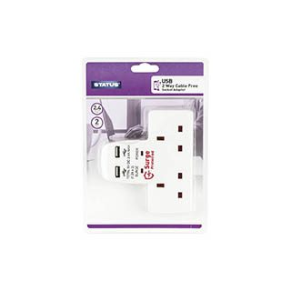 2 Way Cable Free Socket with 2x USB Ports £5.40