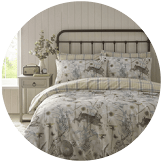 Rabbit Meadow sage duvet cover set easycare £9.99