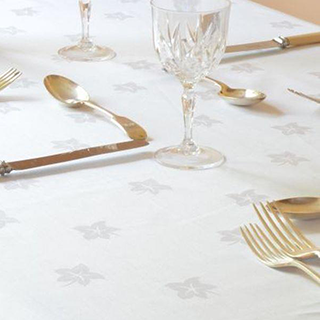 Cottlon Ivy Leaf White Table Cloth