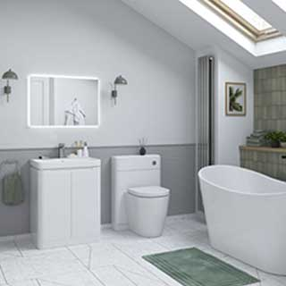 Lambra 500mm 2 Door Freestanding Unit & Basin Gloss White