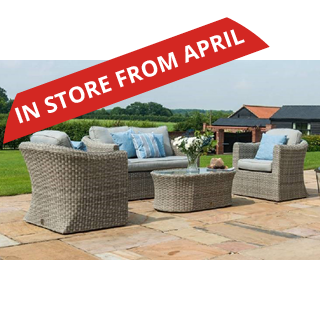 Oxford Rattan 2 seater sofa set with firepit - includes 2 seater sofa, two chairs and a coffee table with firepit