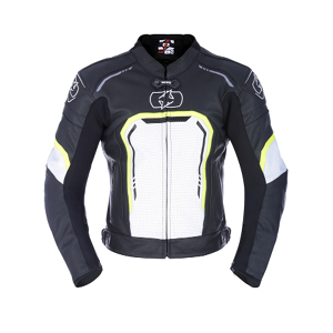 Oxford Strada Leather Jacket in Black/White/Fluo
