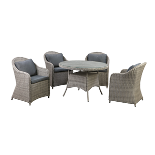 Cambridge 4 seater rattan dining set - round glass table and 4 chairs