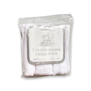 3 Pack Muslin Nappy Liner Squares White