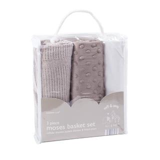 Elli & Raff 3PC Moses Basket Set Grey