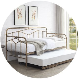 Axton Bronze Metal Day Bed with Trundle 3'